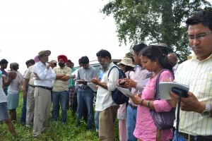 Dr. R.K. Malik explaining about mechanical transplanted rice at Amara village